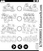 greater less or equal task coloring book page
