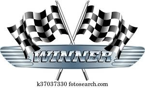 WINNER Checkered, Chequered Flags M
