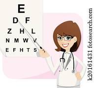cartoon girl ophthalmologist with chart testing eyesight