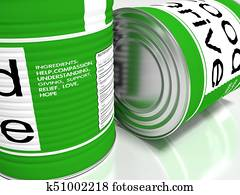 Closeup of two green food cans with the ingrediences of charity