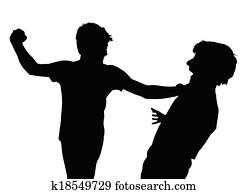 Teen Boys In Fist Fight Silhouette