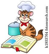 Cartoon cat chef with recipe book