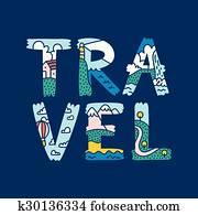 Travel lettering illustration