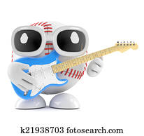 3d Baseball plays electric guitar