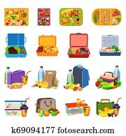Lunchbox icons set, cartoon style