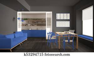 Sedie Blu Cucina : Tavola legno e sedie in cottage cucina con blu andato bene