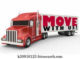 Move With Us Semi Trailer Truck Moving Company Relocation Service