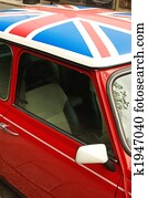 Red car with english flag