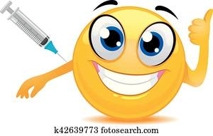 Smiley Emoticon Happily Taking a Vaccine
