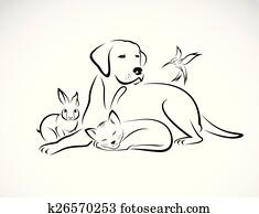 vektor, gesellschaft, von, haustiere, -, dog,, cat,, bird,, rabbit,, freigestellt, wei?, hintergrund