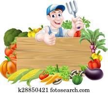 gemüse, gartenbauer, zeichen