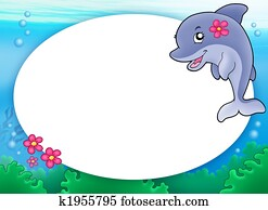 Round frame with dolphin girl