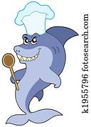 Shark chef with spoon
