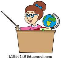 Teacher behind the desk
