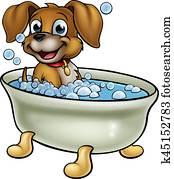 Dog in the Bath Cartoon