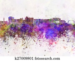 Duluth skyline in watercolor background