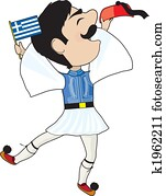 Greek Evzone dancing with Flag