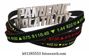 Pandemic Volatility Stock Market Ticker Prices 3d Illustration