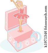 Cute ballerina jewelry box illustration