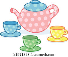 Cute classic style tea pot and cups illustration