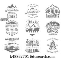 Spring adventure and mountain explorer typography labels set. Outdoors activity inspirational insignias. Silhouette hipster style. Best for t shirts, mugs. patches isolated on white background