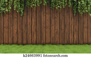 Garden with old wooden fence