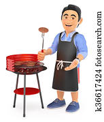 3D Young man in shorts cooking on a barbecue