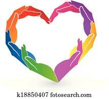 Hands heart charity logo