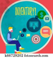 Handwriting text writing Inventory. Concept meaning Complete list of items like products goods in stock properties.