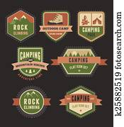Hiking, camp badges - set of icons and elements
