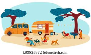 People on summer camp picnic vector illustration, cartoon flat man woman camper traveler characters have fun together isolated on white