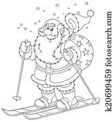 Santa skiing