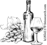 Bottle of wine, glass and grapes