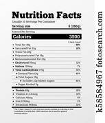 Nutrition facts label design . Content of calories, vitamins, fats and other elements