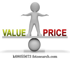 Price Vs Value Balance Comparing Cost Outlay Against Financial Worth - 3d Illustration