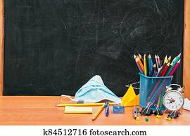 school still life, stationery on the table and a medical mask in the background school board, university,