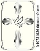 Symbolic cross and dove. Template emblem for church. Vector illustration for design.
