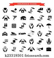 Insurance Car, home, disasters, investment, health, and travel icons set
