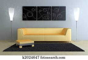 Interiors design - Black and peach