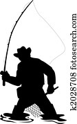 Silhouette of fisherman fly fishing with net