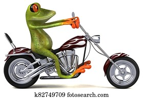 Fun frog on a motorcycle - 3D Illustration