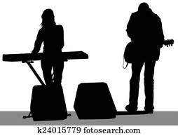 Keyboards and guitarist