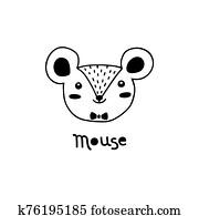 niedlich, mouse,, einfache, ratte, gesicht, karikatur, style., vektor, abbildung