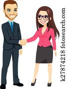 Businessman Shaking Hands Businesswoman