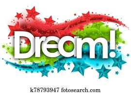 dream word in stars colored background