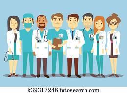 klinikum, medizinisches personal, team, doktoren, krankenschwestern, chirurg, vektor, flache, abbildung
