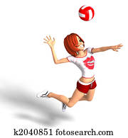 toon girl plays volleyball