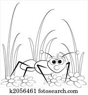 Coloring page - Ant and daisy
