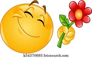 emoticon giving flower