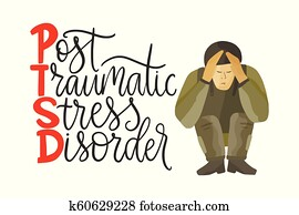PTSD. Post traumatic stress disorder vector illustration.